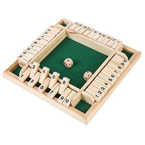 ZoneYan Brettspiel Aus Holz, Holzbrettspiel Würfeln, Shut The Box 4 Spieler, Holzbrettspiele Kinder, Holzbrettspiele, Würfelspiel Mathematik Traditional Pub mit Spielzeug für Kinder