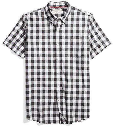 Amazon Brand - Goodthreads Men's Standard-Fit Short-Sleeve Gingham Plaid Poplin Shirt, White/Grey ,X-Large
