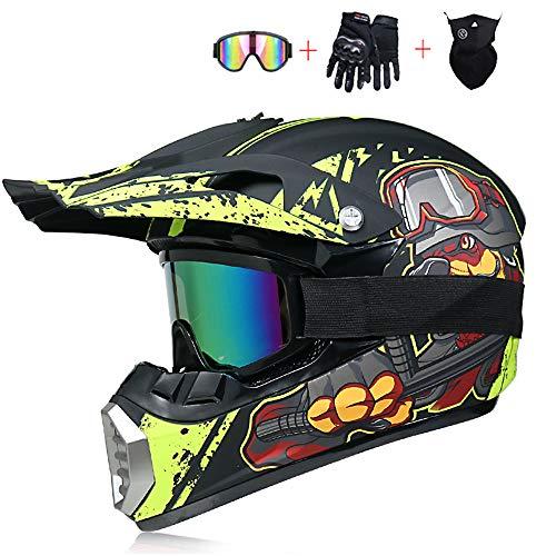 BQYY Adult Off Road Helm, Jugend Downhill Fahrradhelm, Mit Handschuhe Maske Brille Männer Damen Sicherheit Schutz, BMX Helme, All Terrain Motocross Endurohelm,S