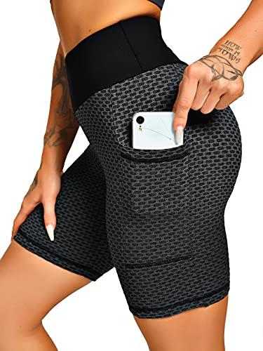 FITTOO Damen Kurze Leggings 1/4 Srunch Butt Leggins Kurz High Waist Butt Lifting Kurze Sportleggins Push Up Kurze Sporthose Mit Taschen Gym Fitness Yoga 1/4 Design 1 - Schwarz XL