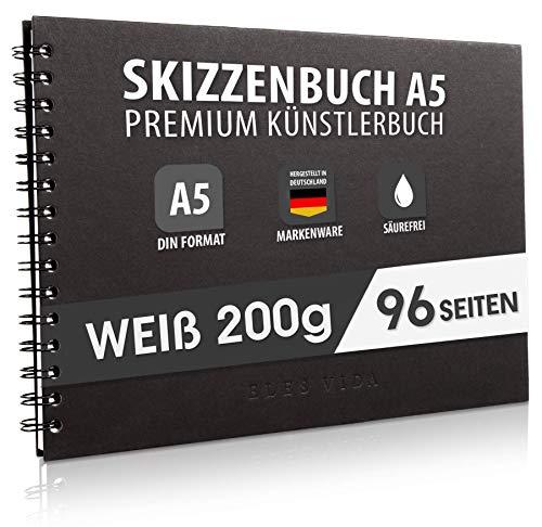 ELES VIDA Skizzenbuch Premium Qualität 200 g/m² mit schwarzer Spiralbindung A5 Querformat – Blattgröße 19,7 x 14 Reißfestes, Nicht ausblutendes, säurefreies Papier Weiß, Sketchbook - aus Deutschland