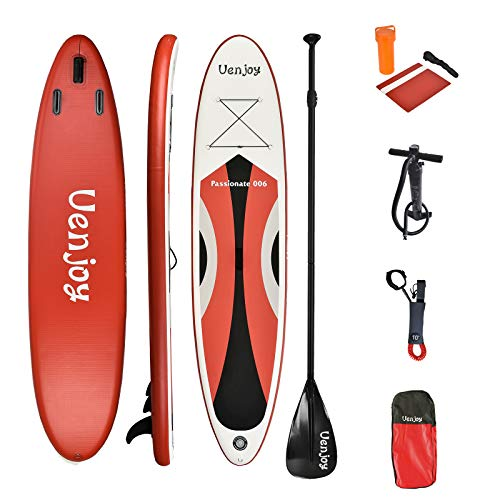 Uenjoy 11' Inflatable Stand Up Paddle Board (6 Inches Thick) Non-Slip Deck Adjustable Paddle...