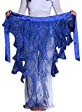 2021 Triangle Chiffon Sequins Belly Dance Hip Scarf Cosplay Costumes Gift(Dark Blue)