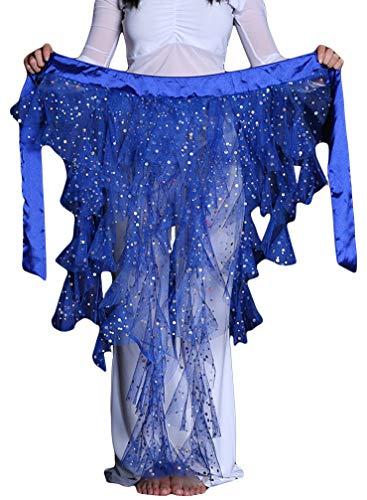DEMON BABY 2019 Sexy Fuchsschwanz Chiffon Pailletten Bauchtanz Hüftschal Netzrock Pole Dance Kostüme Muttertagsgeschenk - Blau - Mittel