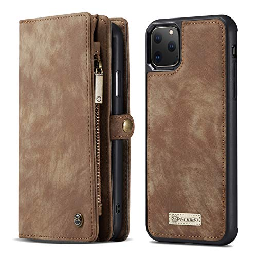 SXTBMR 2019 Designed iPhone 11 Wallet Case,Vintage PU Leather Zipper Wallet Bag and 11 ID Credit Card Slots Folio Flip Case with Magnetic Detachable Phone Cover for Apple iPhone 11 6.1inch - Brown