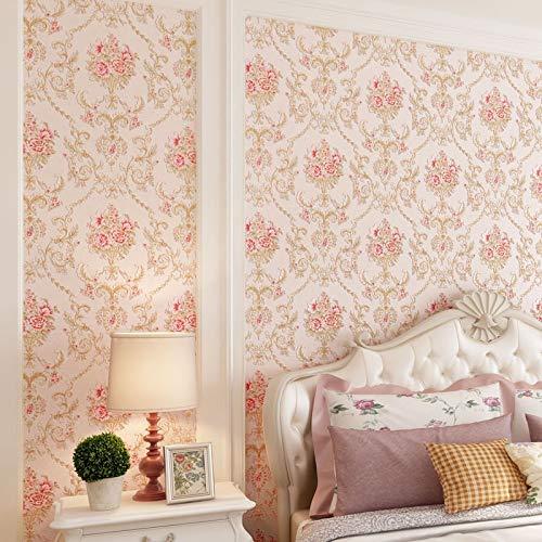 Wand-Aufkleber Murals lösbare Tapeten Borders Europäischer Damaskus 3D Dreidimensionale Tapeten Schlafzimmer Wohnzimmer TV Hintergrund Wand Rund Netto Feine Gepresste High-End-Tapete ( Color : J )