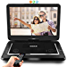 Upgraded Pyle 15in Portable DVD Player, CD Player, Swivel Angle Adjustable Display Screen, USB/SD Card Memory Readers, and Built-in Rechargeable Battery with Remote Control. (PDV156BK) (Renewed)
