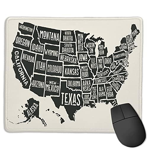 MTevocon Alfombrilla de ratón de Oficina,Póster Mapa de los Estados Unidos de América, Base de Goma Antideslizante Alfombrilla de ratón para Juegos Alfombrilla Decoración de Escritorio 9.5'x7.9