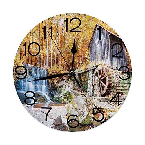 GoodLucke Wanduhr Home Dekorativ, Wasserfall, Herbstsaison Bild der historischen Wassermühle und Wasserfall Naturkunst im Freien, Gelbbraun
