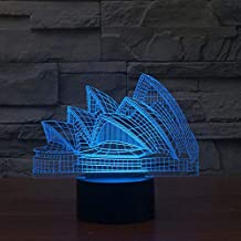 QCKDQ 3D Night Light, Sydney Opera House Optical Illusion Night Lamp, Desk Lamp Nightlight Room Decor Includes USB Cable