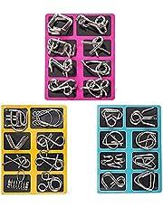 Juego de 24 piezas de rompecabezas de metal Capalta flor IQ Test 3D Brainteaser rompecabezas de metal regalo para niños adolescentes y adultos Navidad regalo