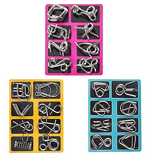 24 Stück Knobelspiele Metall Capalta Blume Knobelei IQ-Spiele Set IQ Test 3D Brainteaser Puzzle Metallpuzzle Geschenke für Kinder Teenager & Erwachsene Weihnachten Geschenk