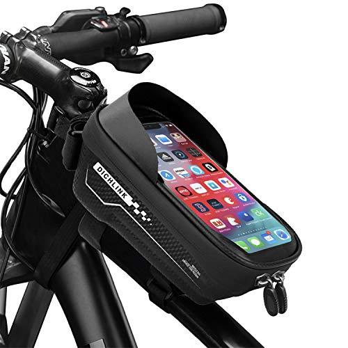 Dichlink Fahrrad Rahmentasche Wasserdicht, Fahrradtasche Mit Touchscreen und Sonnenblende Fahrradtasche Rahmen Fahrrad Handyhalterung für Mobiltelefone Unter 6.5 Zoll