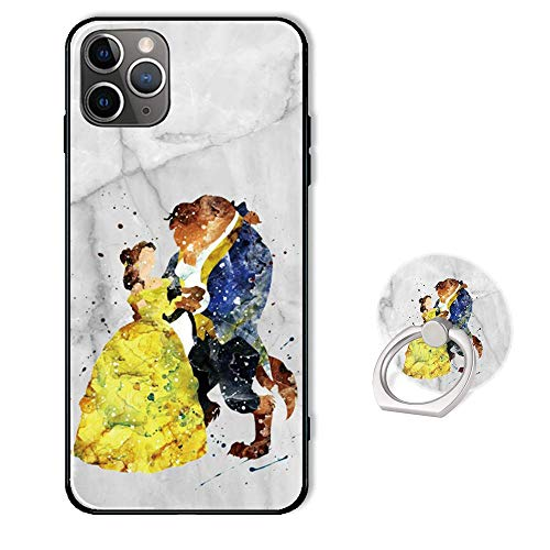 Cute Phone Case for iPhone 11 Pro with Ring Holder Kickstand,Soft TPU Rubber Silicone Protective Cover for iPhone 11 Pro 5.8 inch - Disney Beauty and The Beast White Marble