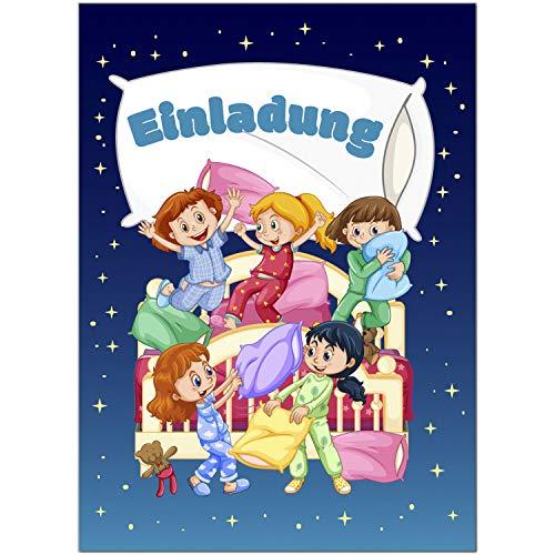16 Einladungskarten zum Kindergeburtstag Motiv: Übernachtungsparty, Pyjama-Party - Einladungen für Kinder zum Geburtstag im Set