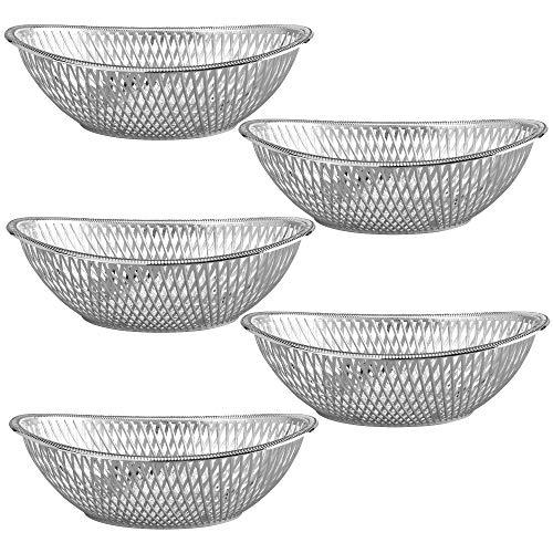 "Medium Plastic Silver Bread Baskets - 5 Pack Reusable 10"" Oval Food Storage Basket - Elegant Modern Décor for Kitchen, Restaurant, Centerpiece Display - by Impressive Creations"