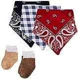 Hudson Baby Unisex Baby Cotton Bib and Sock Set, Cowboy, One Size