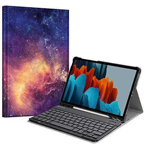 Fintie Bluetooth Tastatur (UK Layout) Hülle Compatible with Samsung Galaxy Tab S7 11 Zoll SM-T870/T875 2020 Tablet mit Stifthalter, Die Galaxie