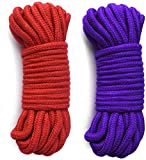 SWISH Soft Cotton Rope-32 feet 10m Multi-Function Natural Durable Long Rope (64FT, red-Purple)
