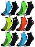 8 oder 12 Paar Sportsocken Herren Sneaker Socken NEON mit verstärkter Frotteesohle Baumwolle - 16209 (43-46, 12 Paar | Farbmix)