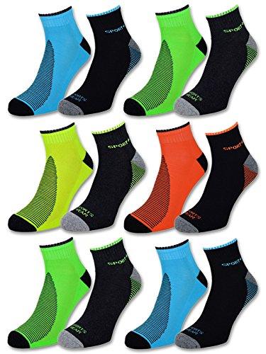 8 oder 12 Paar Sportsocken Herren Sneaker Socken NEON mit verstärkter Frotteesohle Baumwolle - 16209 (39-42, 12 Paar | Farbmix)