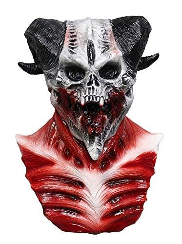 JNKDSGF Máscara de terrorMáscara de Calavera de Demonio de Cueva Esqueleto Cabra de Sangre Sucker Diseño de Zombie Máscara de caníbal Látex Disfraz de Halloween para Adulto