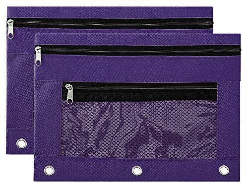 Pencil Pouch Zipper with 3 Ring and Double Pocket and Mesh Window(2 Packs) (Purple)