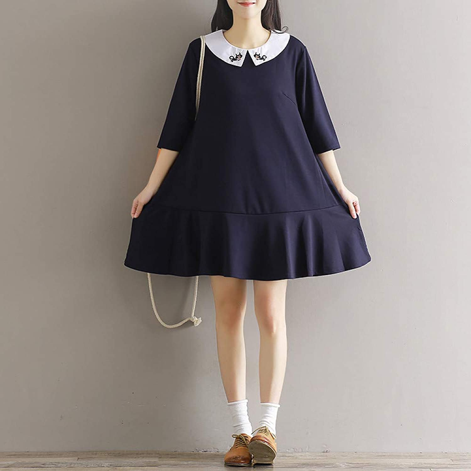 Cxlyq Dresses Embroidered Doll Collar College Wind Long Section Cotton and Linen Dress Women's Ruffle