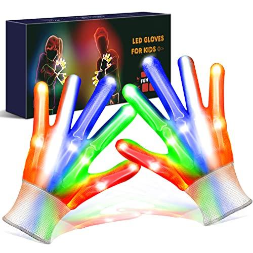Geschenke Weihnachten Spielzeug ab 5-15 Jahre - Kinder Geschenke LED Leuchtende Handschuhe Kinderspielzeug, Adventskalender Kinder Spielzeug Jungen, Lustige Geschenke für Teenager (Fit 5-10 Alter)