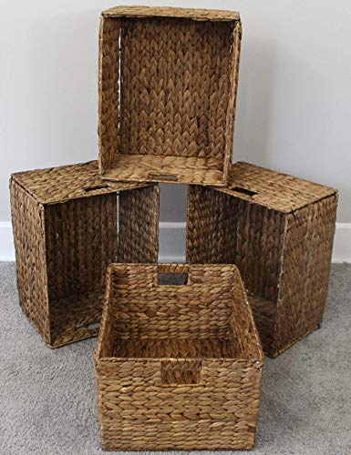 eHemco Rectangular Hand-Woven Foldable Water Hyacinth Storage Baskets with Iron Wire Frame- Set of 4(Larger 16 x12.5 x9.5 )