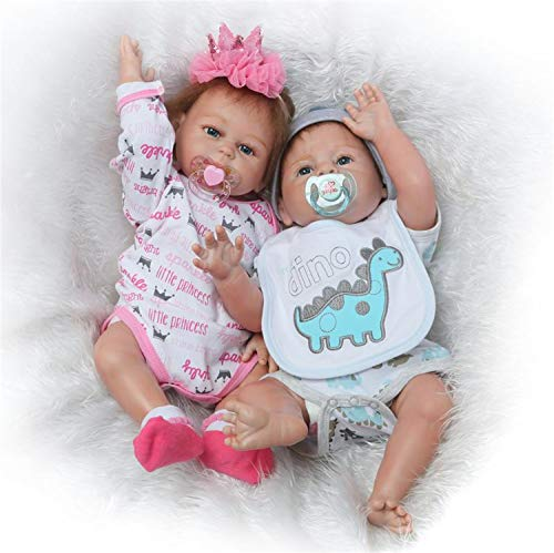 Silicone Full Body Reborn Baby Dolls Twins Boy and Girl 20 inch Anatomically Correct Newborn Size Bebe Look Real Washable Toys for Toddler Doll House 2 PCS