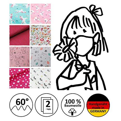 Mund- und Nasenmaske, Community-Maske, Mädchen-Maske, Kindermaske, Alltagsmaske, Behelfsmundschutz - Für MÄDCHEN - handgenäht in Deutschland