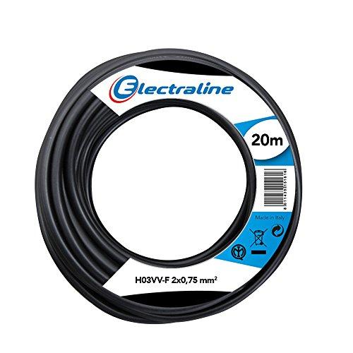 Electraline 11165, Cable para Extensiones H03VV-F, Sección 2x0,75 mm, 20 m, Negro