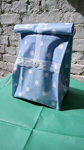 Lunchbag*Frühstückstasche*Brotbeutel* Design: Hellblau/Weiss Dots besch. BW Neu