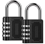 Combination Lock BeskooHome Security Padlock - [2-Pack] Weather Proof Padlock with 4-Digit Smooth Dial for School, Gym, Outdoor Shed Locker -Black