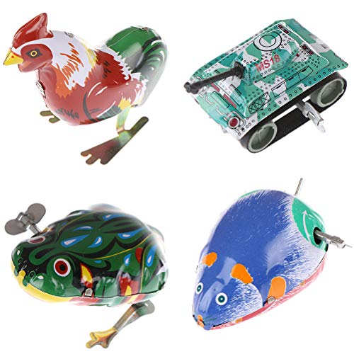 iwobi 5 Pcs Mouse Wind up Toy Classic Clockwork Vintage Tin Toy Mouse Collection Decoration Gifts