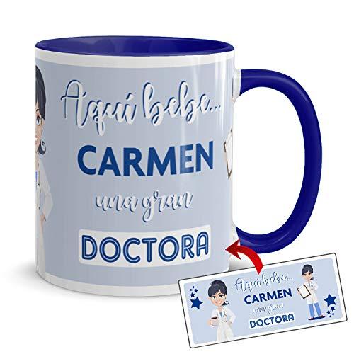 Kembilove. Taza de Café de la Mejor Doctora del Mundo Personalizada con el Nombre – Taza de Desayuno para la Oficina – Taza de Café y Té para Profesionales – Taza de Cerámica Impresa para Médicas
