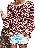 Youdiao Sudadera de Manga Larga con Estampado de Leopardo, Cuello Redondo, Manga Larga, Hombros Descubiertos, Camiseta básica Suave para Mujer - Rojo - Large