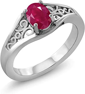 Red Ruby 925 Sterling Silver Women's Solitaire Ring (0.60 Ct Oval Gemstone Birthstone Available 5,6,7,8,9)