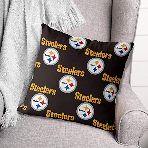 FANNTIME NFL Pittsburgh Steelers Throw Pillow Covers Decorative Square Throw Pillow Covers Cushion Case for Sofa Bedroom Car 18 x 18 Inch, 45 x 45 cm