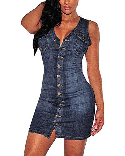 Minetom Damen Sommer Sexy Bodycorn Jeanskleid mit Knopf Ärmelloses Denim Blau Mini Kleid Vintage Tasche Kurz Dress Blau DE 38