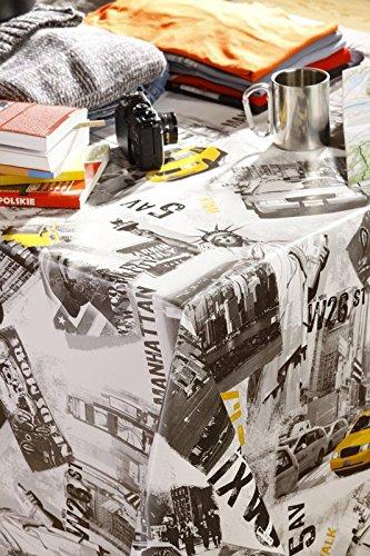 WJDhome Manhattan Thème, Facile à Nettoyer, en Toile cirée, Vinyle, PVC, 140 x 300 cm.