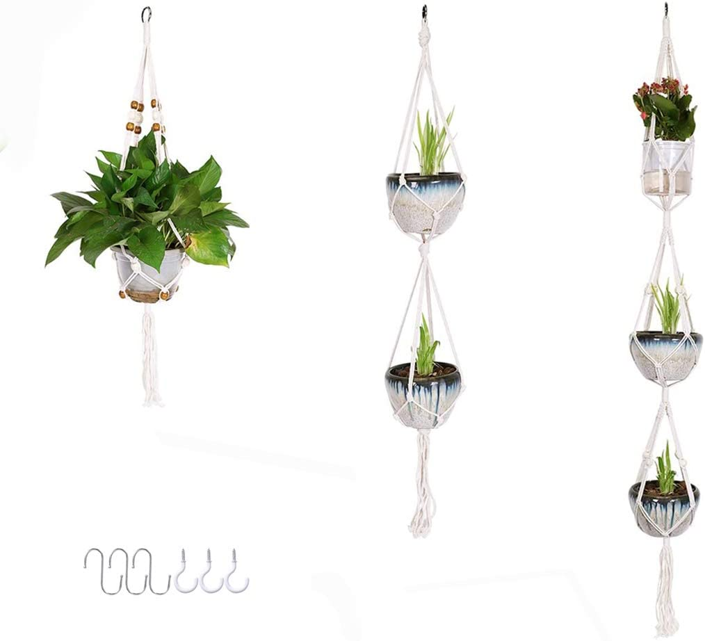 Garma New product!! Macrame In a popularity Plant Hangers 3 Rope Different Pack Cotton Hanging