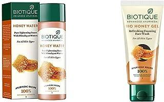 Biotique Honey Water Pore Tightening Toner, 120ml & Biotique Bio Honey Gel Face Wash for All Skin Types, 100ml