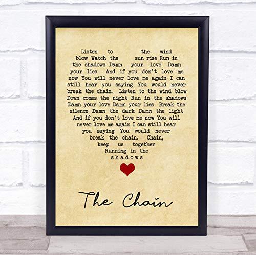 Vingerafdruk Ontwerpen De Ketting Vintage Hart Quote Song Lyrische Print Framed Brushed Gold Medium