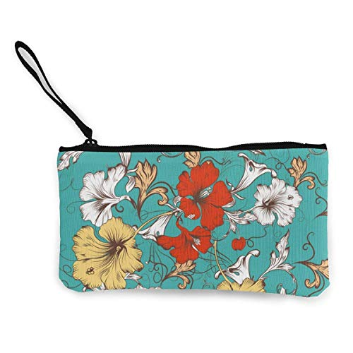 Seamless Pattern for with Flowers Canvas Wallet Exquisite Coin Purses Small Canvas Coin Purse is Used to Hold Coin Change, ID and Other