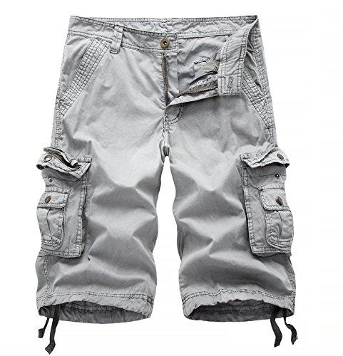 Bermuda cargo masculina Elonglin de algodão estilo retrô com vários bolsos, Cinza, 34 Waist (Asian 36)