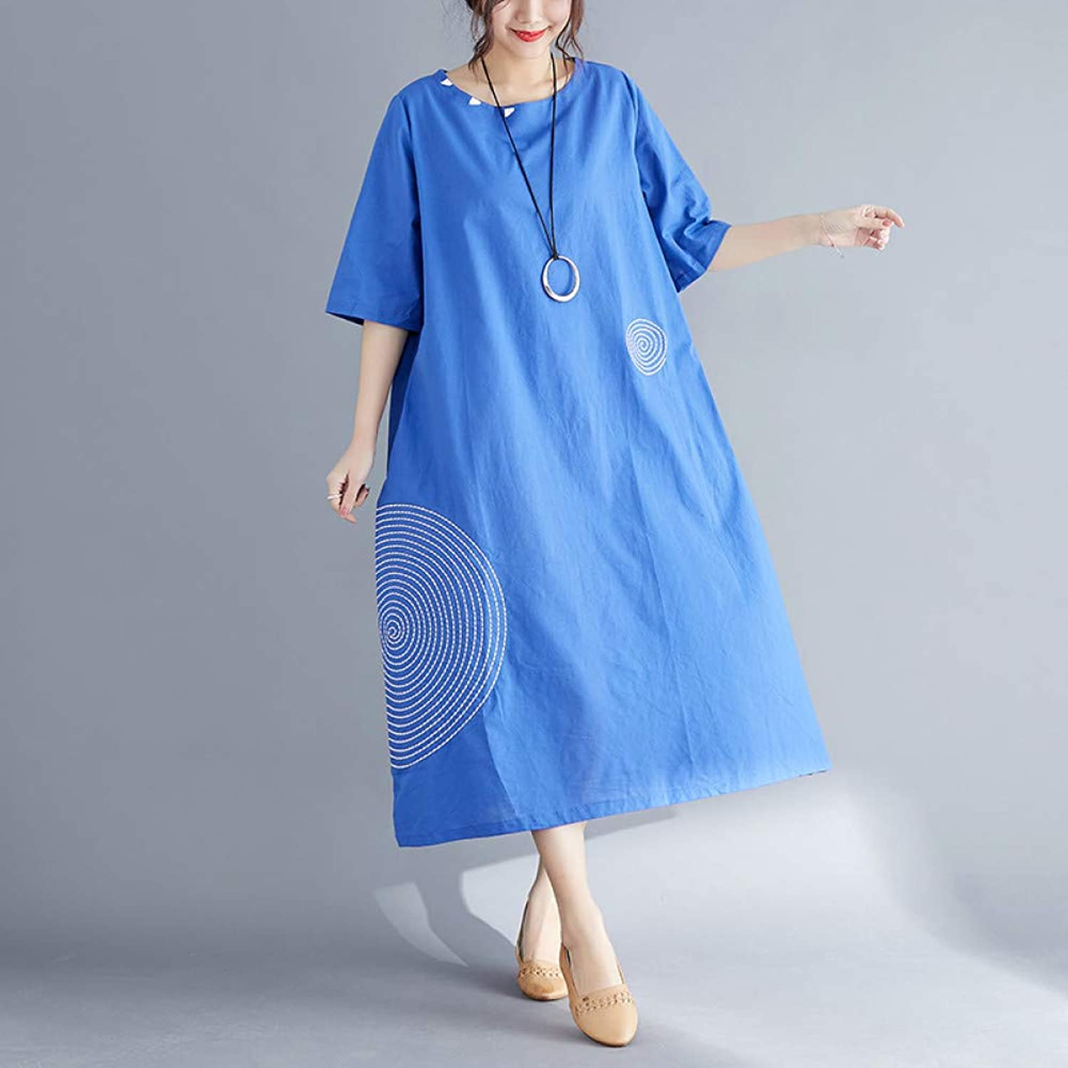 XIAOPANGHAI Summer New Solid color Cotton and Linen Large Size Embroidery Fat Loose Dress Female Casual Style Beach Holiday Dresses
