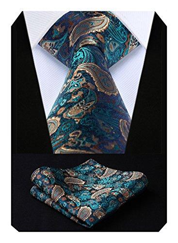 HISDERN Extra largo Floral Paisley lazo del panuelo Hombres Corbata & Plaza de bolsillo Conjunto Aqua/Brown