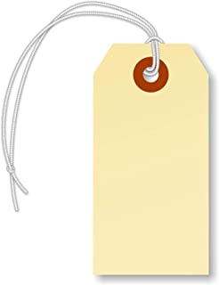 """SmartSign Manila Shipping Tags with Elastic Attached, Size #2   13pt Cardstock Tag, 3 1/4"""" x 1 5/8"""", Pack of 250"""